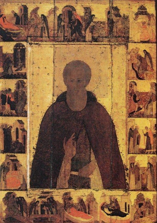 Icon of Saint Sergius of Radonezh with hagiographical scenes (circa 1480)