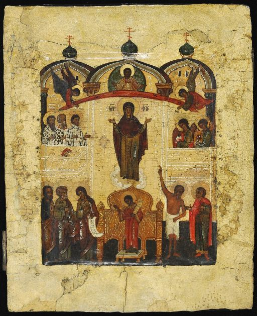Icon of the Pokrov Mother of God, Novgorod, early 17th century