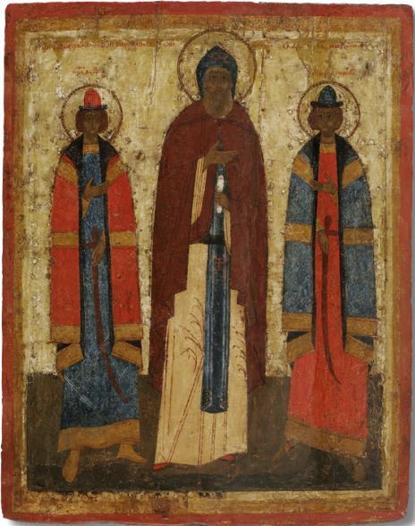Icon of the Most Orthodox Saint Princes Feodor, David and Constantine of Yaroslavl. End of the XV century.