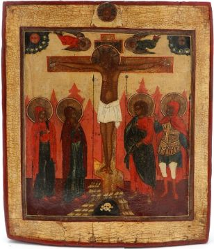 Russian icon of the Crucifixion of Christ