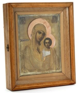 Russian icon of Our Lady of Kazan in kiot
