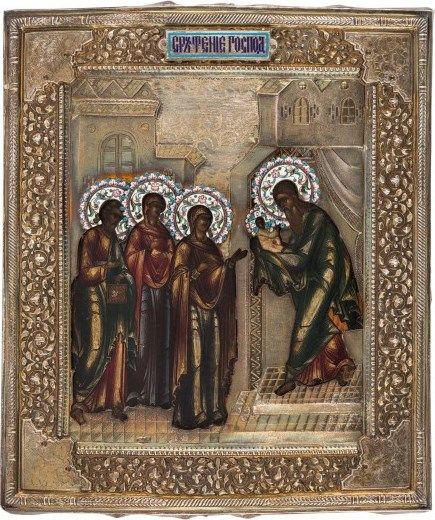 Russian icon of the Presentation of Christ in a silver and enamel oklad