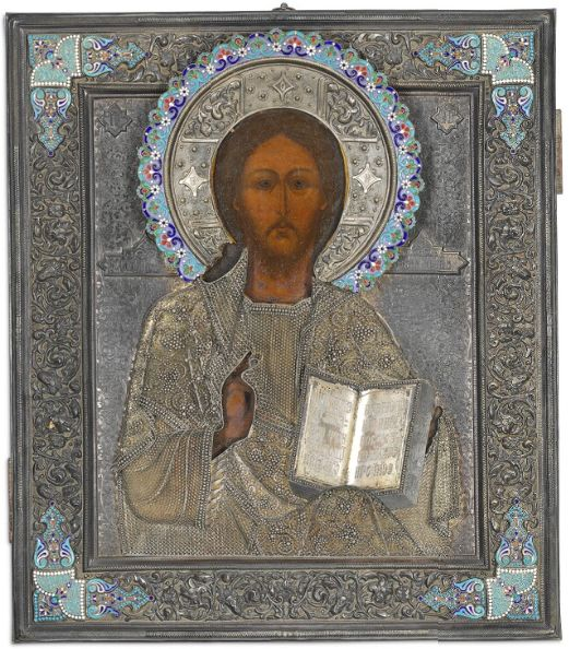 Icon of Christ Pantocrator, covered by silver rizza with cloisonné enamel ornaments and pearls (Moscow, late 19th – early 20th century)