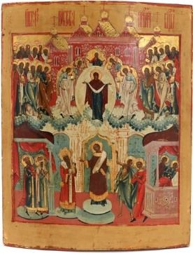 Russian icon of the Intercession of the Theotokos (18th – 19th century)