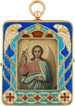A Faberge icon pendant of a guardian angel