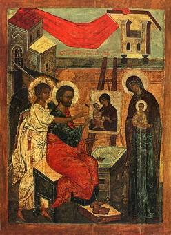 Icon of St. Luke painting the Theotokos of Vladimir, 16th century