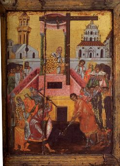 Antique Icon of the Elevation of the Cross