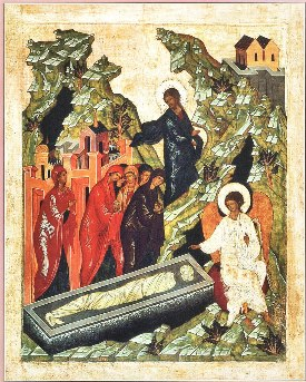 Myrrhbearers Standing by the Empty Tomb Icon