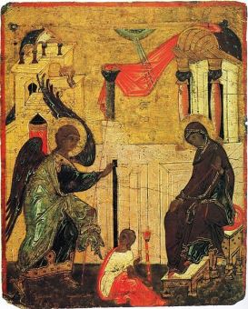 Russian icon of the Annunciation