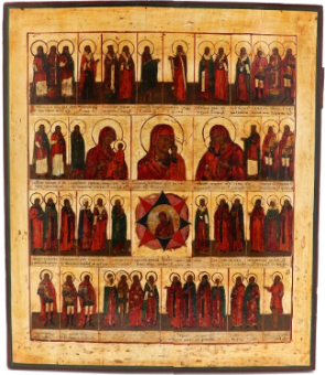 Russian icon of the Holy Unmercenary Doctors (early 19th century)