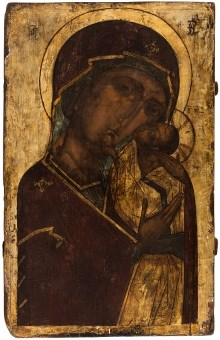 Russian icon of the Virgin of Tenderness (Eleusa)