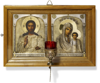Russian icons of Christ Pantocrator and Our Lady of Kazan