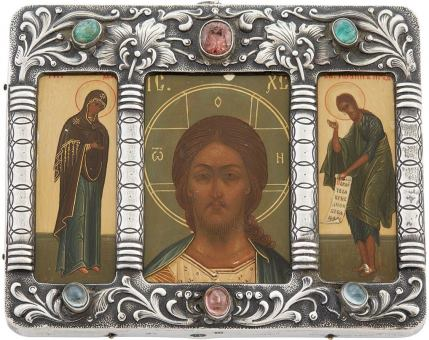 Triptych Icon of Christ, the Mother of God, and John the Baptist