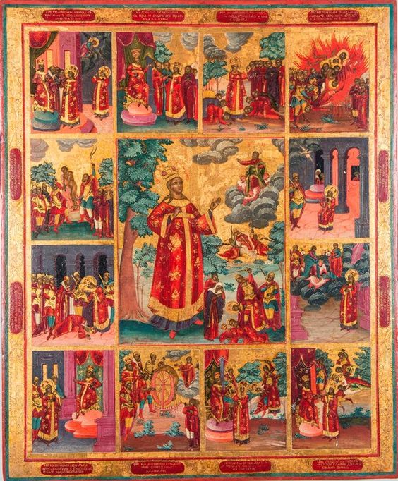 The Great-Martyr Catherine, with 12 hagiographical scenes. First half of the 19th century.