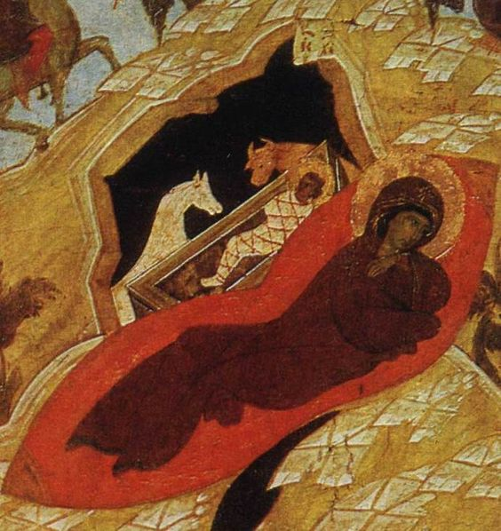 The Nativity of Christ, fragment of the antique icon