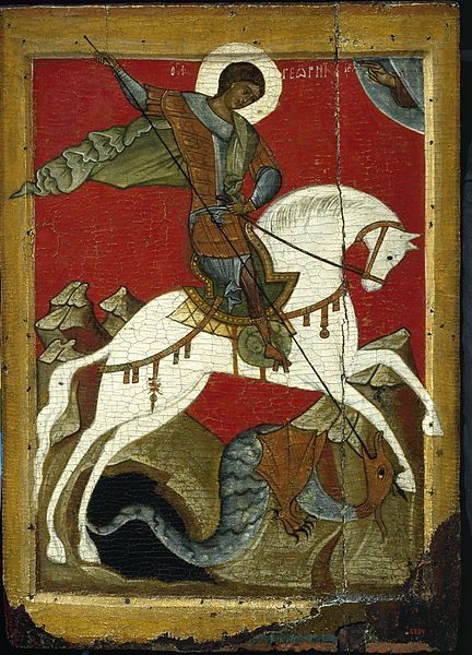 Icon of St. George and the Dragon, late 14th century