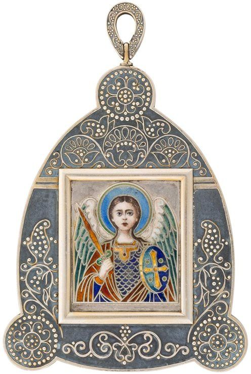 Faberge silver icon pendant of a guardian angel