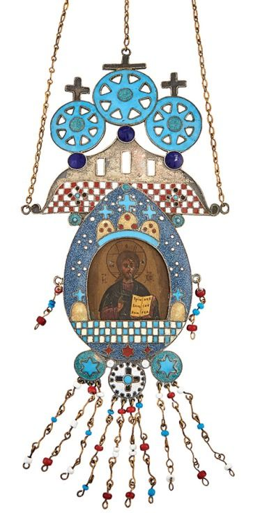 Russian Gilt-Metal and Enamel Icon of Christ Pantocrator